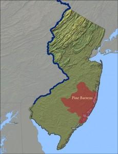 Pine Barrens. Situación en Nueva Jersey.